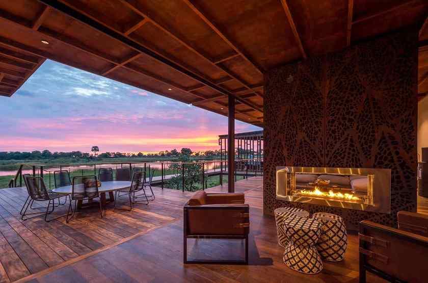Qorokwe, Delta de l'Okavongo, Botswana, salon, terrasse
