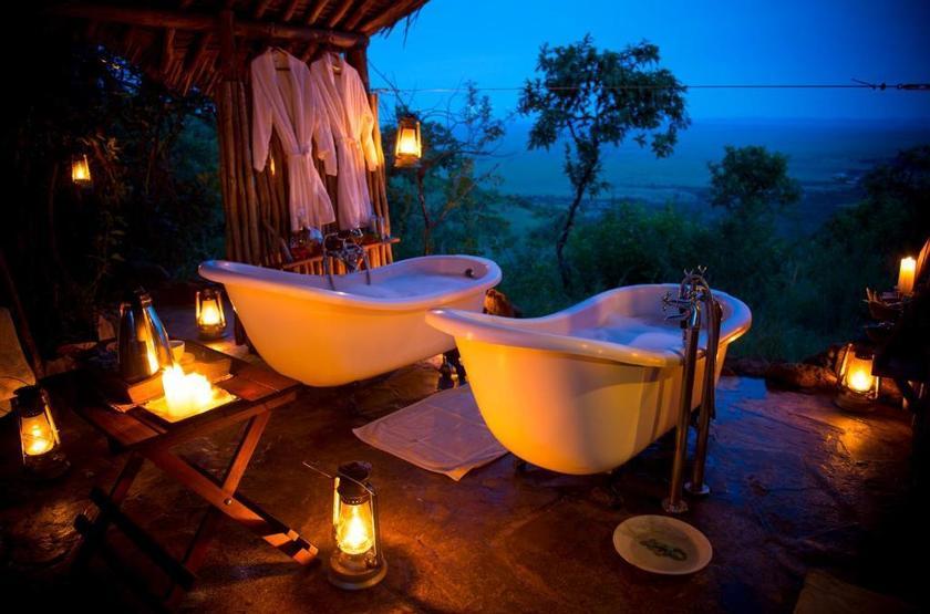 Kilima Camp, Masai Mara, Kenya, salle de bains deluxe tente