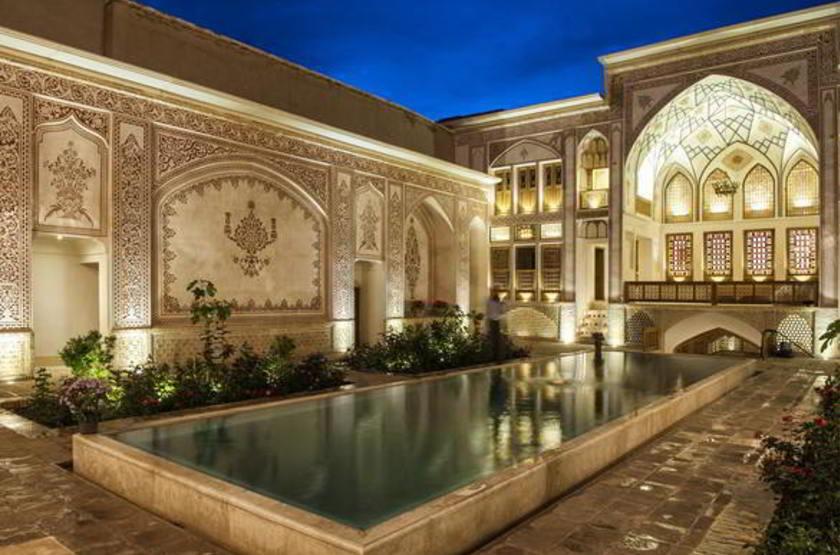 Mahinestan Hotel, Kashan, Iran, cours intérieure