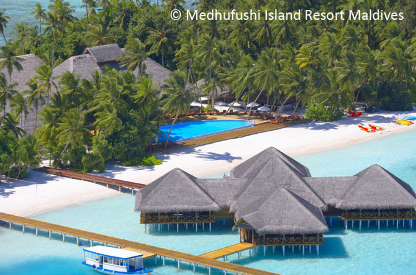 Medhufishi island resort   piscine et bar slideshow