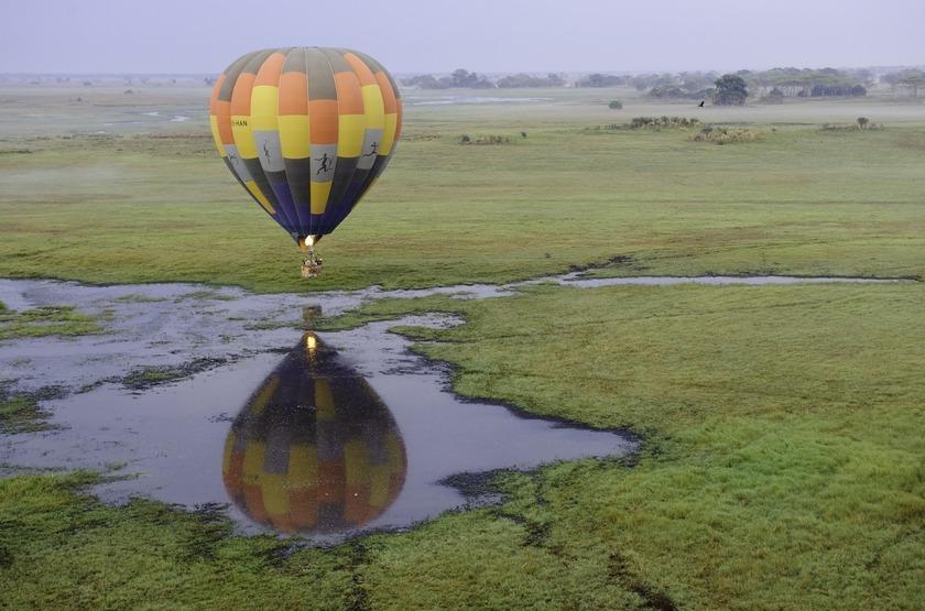 Survol en ballon, Parc de Kafue, Busanga Bush Camp, Zambie