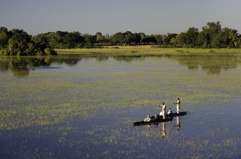 Safari en mokoro, delta de l'Okavango, Botswana
