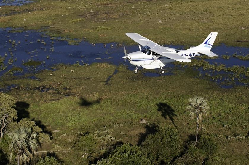 Survol du delta de l'Okavango, Botswana
