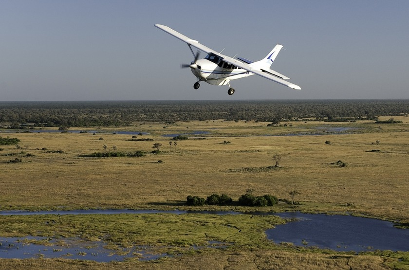 Survol du delta de l'Okavango en avion taxi, Botswana