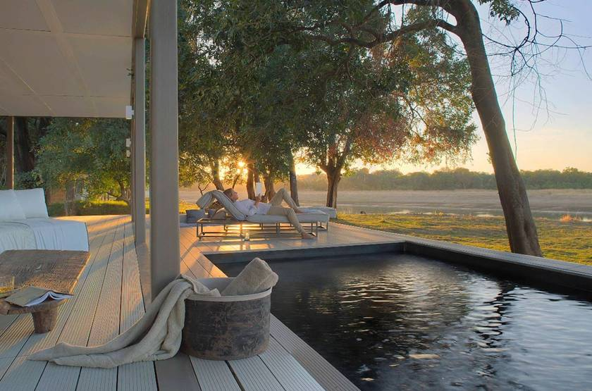 Chinzombo, villa avec piscine, South Luangwa, Zambie