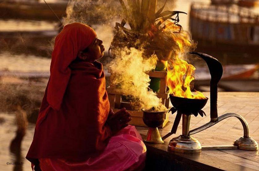 Cérémonie, Bénares, Inde