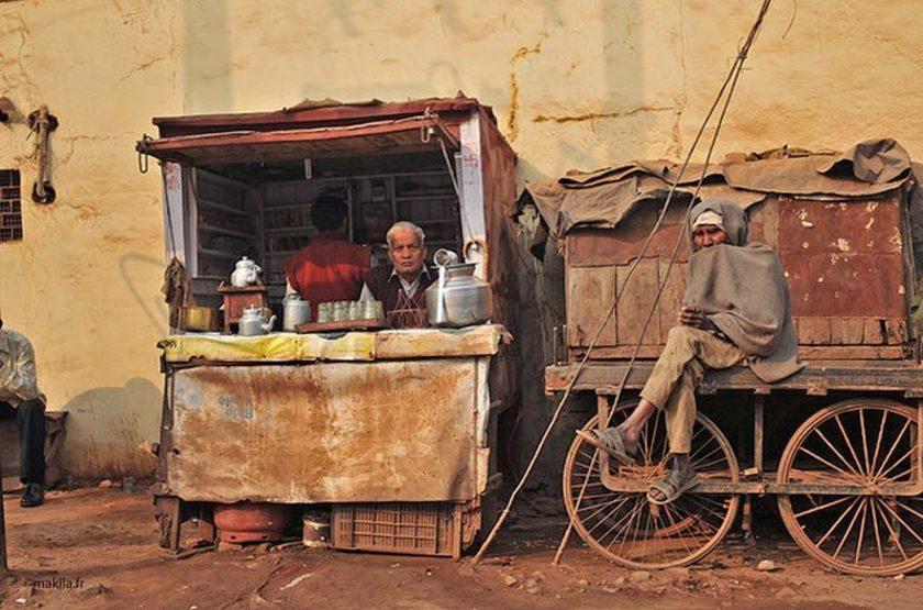 Boutique de thé, Gwalior, Inde du Nord