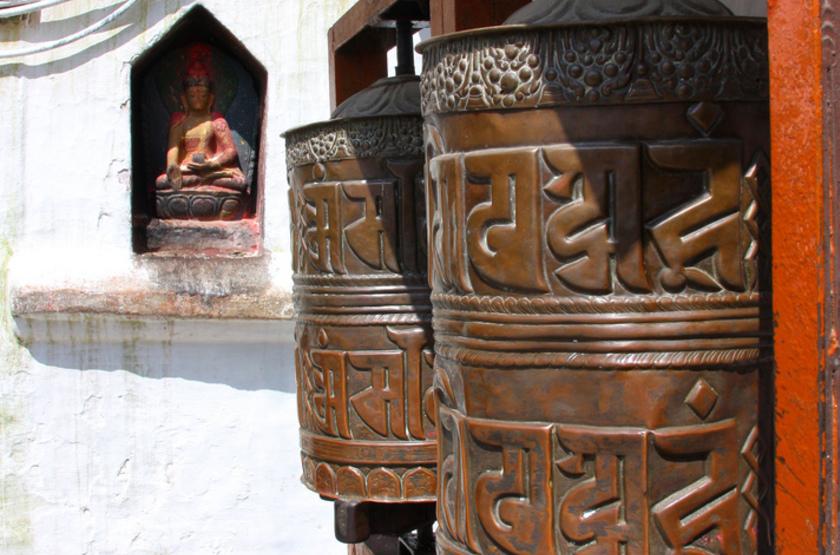 Bodnath, Népal, Katmandou, moulins à prières