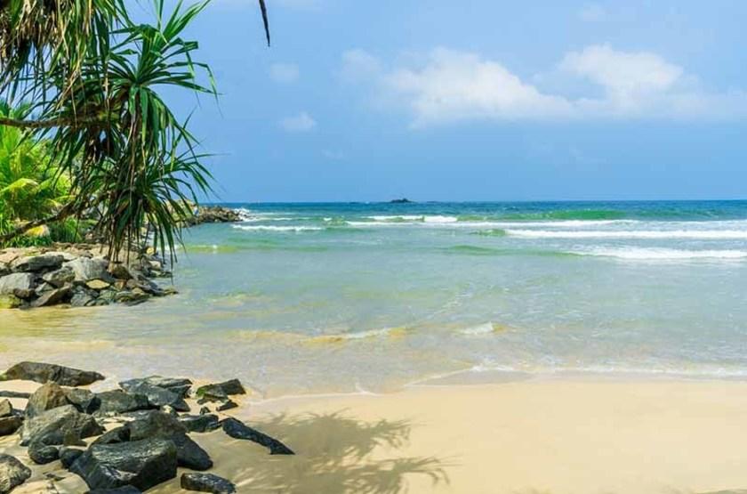 Plage tropicale à Bentota, Sri Lanka