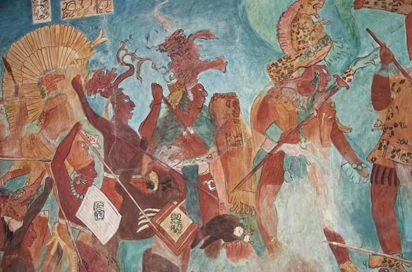 Peinture Maya, Bonampak, Chiapas, Mexique