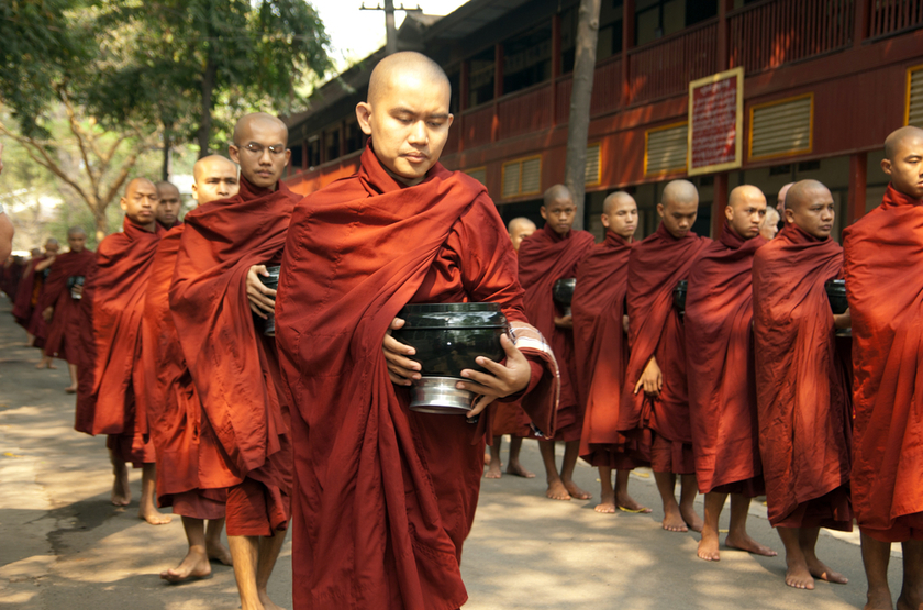 Moinesbuddhistes, Mandalay, Myanmar, Birmanie