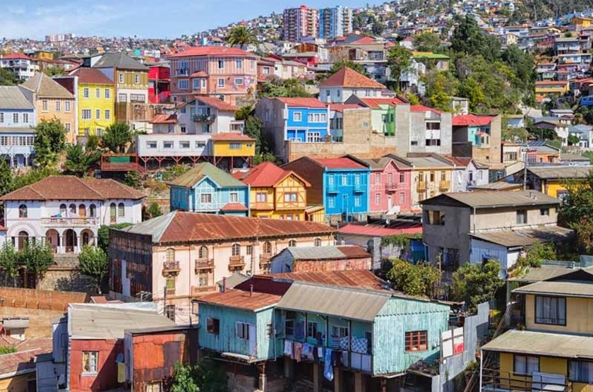 Immeubles colorés de Valparaiso, Chili