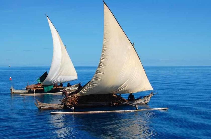 bateaux de pèche en bois, Mozambique