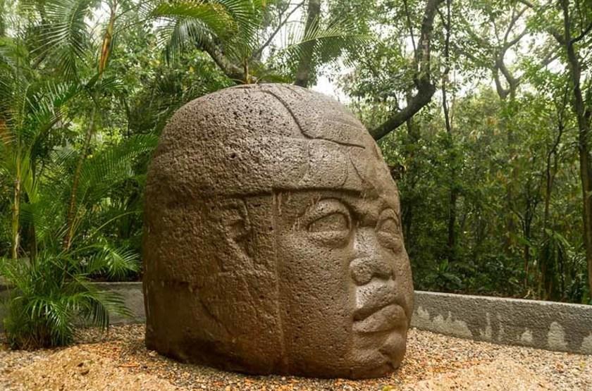 Tête Olmèque en basalte, Villahermosa