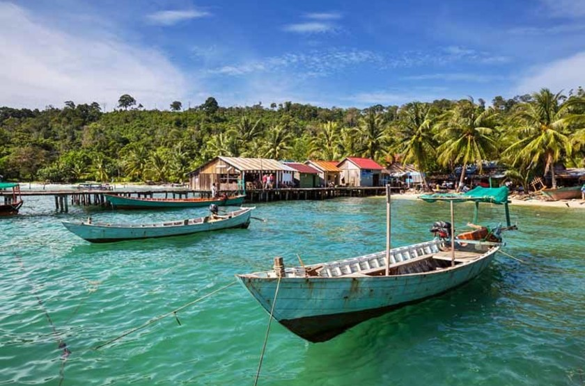 Bateaux de pécheurs à Kep, Cambodge