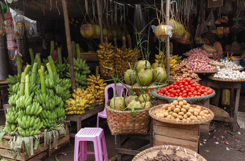 Marché aux fruits, Myanmar, Birmanie