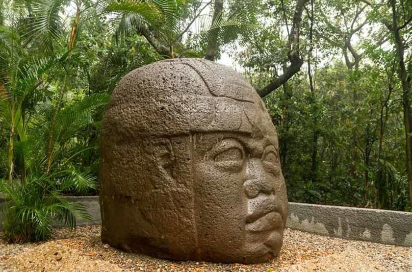 Tête Olmec, musée de la Venta, Villahermosa, Mexique