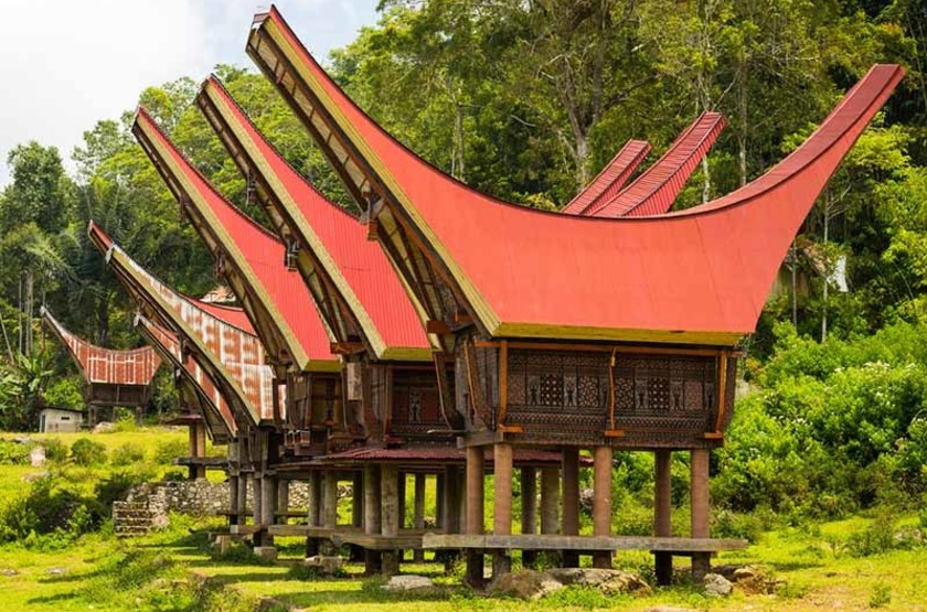 Maisons traditionnelles du village de Tana Toraja, Indonésie